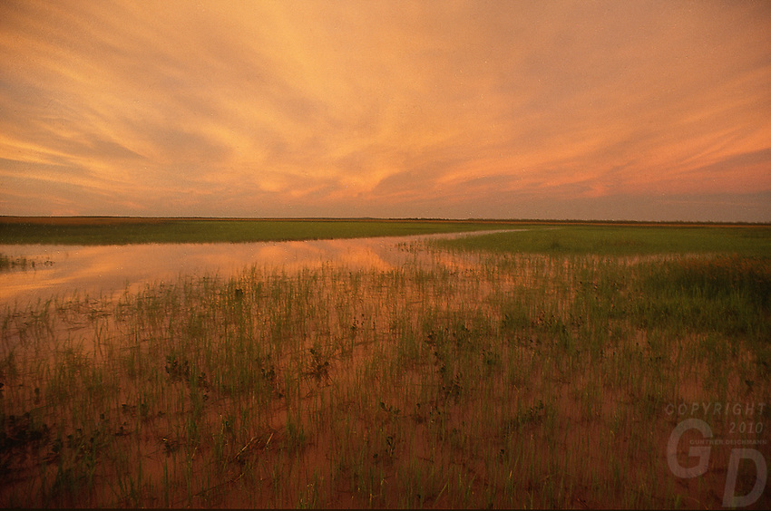 Sunset over the South Aligator Flood Plains near kakadu National Park