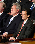 United States House Majority Whip Kevin McCarthy (Republican of California), left,  and U.S. House Majority Leader Eric Cantor (Republican of Virginia), right, listen as U.S. President Barack Obama delivers his State of the Union Address to a Joint Session of Congress in the U.S. Capitol in Washington, D.C., Tuesday, January 24, 2012..Credit: Ron Sachs / CNP.(RESTRICTION: NO New York or New Jersey Newspapers or newspapers within a 75 mile radius of New York City)