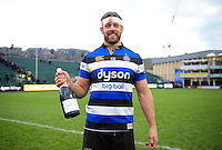 Man of the Match Dave Attwood of Bath Rugby poses for a photo with his bottle of champagne. Aviva Premiership match, between Bath Rugby and Saracens on December 3, 2016 at the Recreation Ground in Bath, England. Photo by: Patrick Khachfe / Onside Images