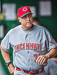 21 May 2014: Cincinnati Reds Manager Bryan Price walks the dugout during a game against the Washington Nationals at Nationals Park in Washington, DC. The Reds edged out the Nationals 2-1 to take the rubber match of their 3-game series. Mandatory Credit: Ed Wolfstein Photo *** RAW (NEF) Image File Available ***
