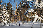 Jan. 22, 2013; Log Chapel and Basilica in winter..Photo by Matt Cashore/University of Notre Dame