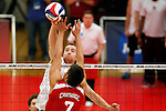 29 APR 2012:  Mike Pelletier (3) of Springfield College spikes the ball over Connor Wexter (7) of Carthage College during the Division III Men's Volleyball Championship held at Blake Arena in Springfield, MA.  Springfield defeated Carthage 3-0 to win the national title.  Jessica Rinaldi/NCAA Photos