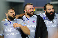 Guy Mercer, Henry Thomas and Kane Palma-Newport of Bath Rugby look on in a post-match huddle. Aviva Premiership match, between Exeter Chiefs and Bath Rugby on October 30, 2016 at Sandy Park in Exeter, England. Photo by: Patrick Khachfe / Onside Images