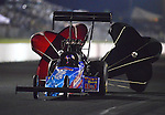 May 18, 2012; Topeka, KS, USA: NHRA top fuel dragster driver Mike Stausburg during qualifying for the Summer Nationals at Heartland Park Topeka. Mandatory Credit: Mark J. Rebilas-