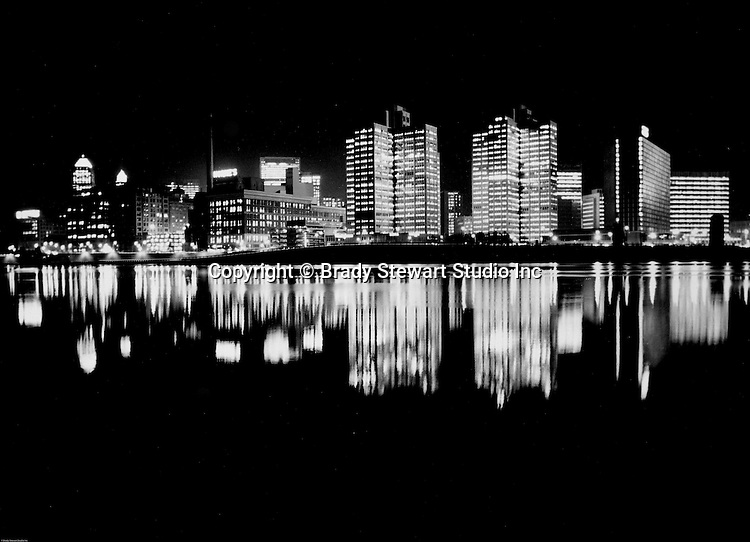 Pittsburgh PA:  View of the first Light Up Night in Pittsburgh - 1960.  Photograph was taken from the Northside of Pittsburgh near the banks of the Allegheny River