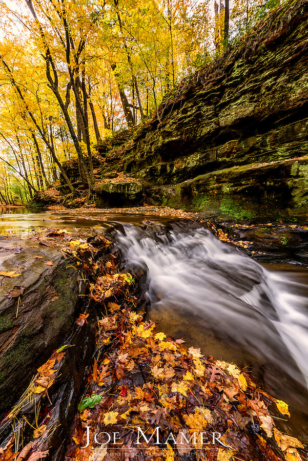 Skillet Creek cascade as it enters Pewits Nest in Autumn.