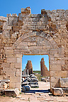 Roman gates & fortifications of Perge, 3rd cent with the older towers of the Hellenistic gates inside. AD. Perge (Perga) archaeological site, Turkey