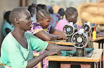 Peresi Nyoka participates in tailoring training provided by United Methodist Women in Yei, Southern Sudan.