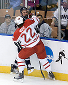 Connor Hardowa (UNH - 2), Justin Vaive (Miami - 22) - The University of New Hampshire Wildcats defeated the Miami University RedHawks 3-1 (EN) in their NCAA Northeast Regional Semi-Final on Saturday, March 26, 2011, at Verizon Wireless Arena in Manchester, New Hampshire.