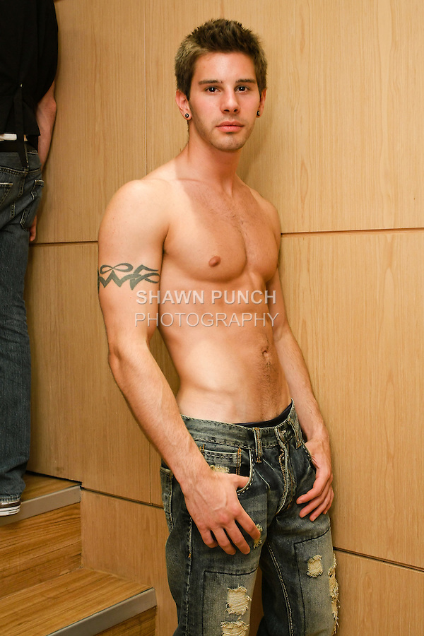 Model poses in Mickey Jeans, at the Domenico Vacca Denim Launch Party presented by Models International on July 14, 2010.