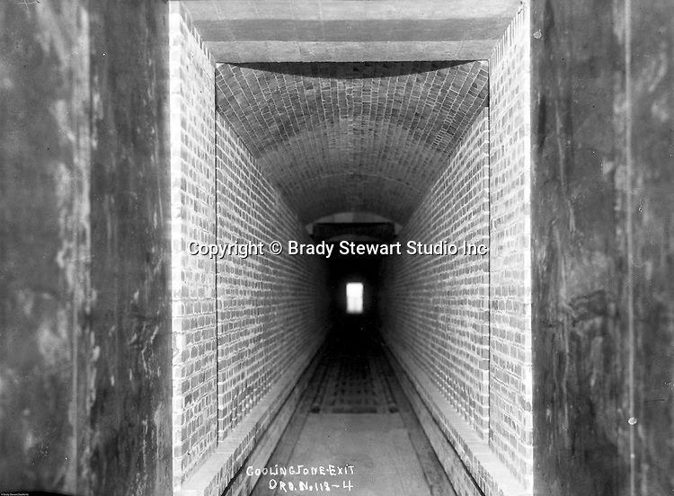 Pittsburgh PA:  View of steel cooling zone at exit of furnace - 1932.  Swindell Dressler International Company was based in Pittsburgh, Pennsylvania. The company was founded by Phillip Dressler in 1915 as American Dressler Tunnel Kilns, Inc.  In 1930, American Dressler Tunnel Kilns, Inc. merged with William Swindell and Brothers to form Swindell-Dressler Corporation. The Swindell brothers designed, built, and repaired metallurgical furnaces for the steel and aluminum industries. The new company offered extensive heat-treating capabilities to heavy industry worldwide.