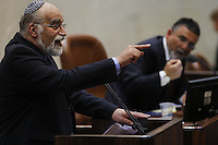 Dudu Rotem, a Knesset member of the right-wing Yisrael Beiteinu party adresses the Israeli parliament on July 31, 2013. Photo by Oren Nahshon
