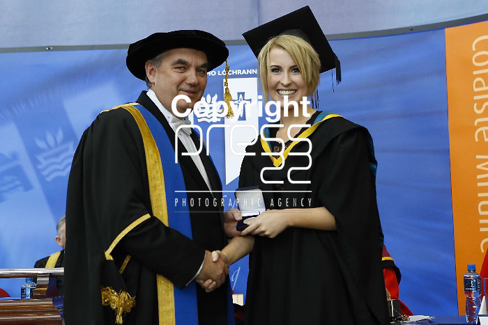 Pictured at this yearÂ's Graduation Ceremony at Mary Immaculate College, Limerick was Jenny Glennon from Carrigaline, Co. Cork who was awarded the College Medal for first place on the B.Ed in Education and Psychology Degree Programme presented by the President of MIC, Prof. Michael A Hayes. and a College Medal for first place in Psychology presented by Dr. Kerry Greer, HoD, Psychology Dept. MIC. 1010 students from 24 counties and 3 continents were conferred at MIC with academic awards across 23 programmes including  18 students who were conferred with PhD awards, the highest number of Doctoral Awards ever conferred at Mary Immaculate College, Limerick. Pictured Credit Brian Gavin Press 22