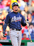 2 April 2011: Atlanta Braves third baseman Chipper Jones in action against the Washington Nationals at Nationals Park in Washington, District of Columbia. The Nationals defeated the Braves 6-3 in the second game of their season opening series. Mandatory Credit: Ed Wolfstein Photo