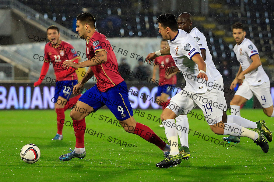 Fudbal, kvalifikacije za UEFA EURO 2016 qualifiers-Qualifying round - Group I<br /> Srbija v Portugal<br /> Aleksandar Mitrovic (L)<br /> Beograd, 11.10.2015.<br /> foto: Srdjan Stevanovic/Starsportphoto &copy;