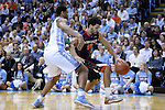 02 February 2015: Virginia's Anthony Gill (13) and North Carolina's Isaiah Hicks (22). The University of North Carolina Tar Heels played the University of Virginia Cavaliers in an NCAA Division I Men's basketball game at the Dean E. Smith Center in Chapel Hill, North Carolina. Virginia won the game 75-64.