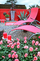 Hot Pink color theme backyard with dahlia flowers, patio furniture, pink red wall, container pot plants, candles lighting, succulents yucca, topiary, blue sky