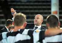 NPBHS coach Sam Moore talks to his team at halftime in the annual traditional 1st XV secondary schools rugby union match between New Plymouth Boys' High School and Francis Douglas Memorial College at Yarrow Stadium in New Plymouth, New Zealand on Saturday, 6 May 2017. Photo: Dave Lintott / lintottphoto.co.nz
