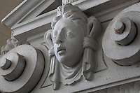 Sculptural detail on a pediment in the Vestibule of the Phare de Cordouan or Cordouan Lighthouse, built 1584-1611 in Renaissance style by Louis de Foix, 1530-1604, French architect, located 7km at sea, near the mouth of the Gironde estuary, Aquitaine, France. This is the oldest lighthouse in France. There are 4 storeys, with keeper apartments and an entrance hall, King's apartments, chapel, secondary lantern and the lantern at the top at 68m. Parabolic lamps and lenses were added in the 18th and 19th centuries. The lighthouse is listed as a historic monument. Picture by Manuel Cohen