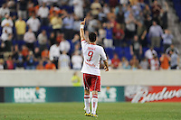 Juan Pablo Angel (9) of the New York Red Bulls celebrates scoring the game winning goal in second half stoppage time. The New York Red Bulls defeated the Houston Dynamo 2-1 during a Major League Soccer (MLS) match at Red Bull Arena in Harrison, NJ, on June 2, 2010.