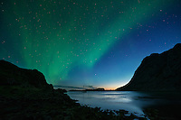 A late summer display of Northern Lights - Aurora Borealis over Buvågen bay at Helle on the westernmost tip of Moskenesøy, Lofoten Islands, Norway