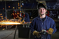 A student at Piedmont Virginia Community College learns how to weld through an apprenticeship. Photo/Andrew Shurtleff