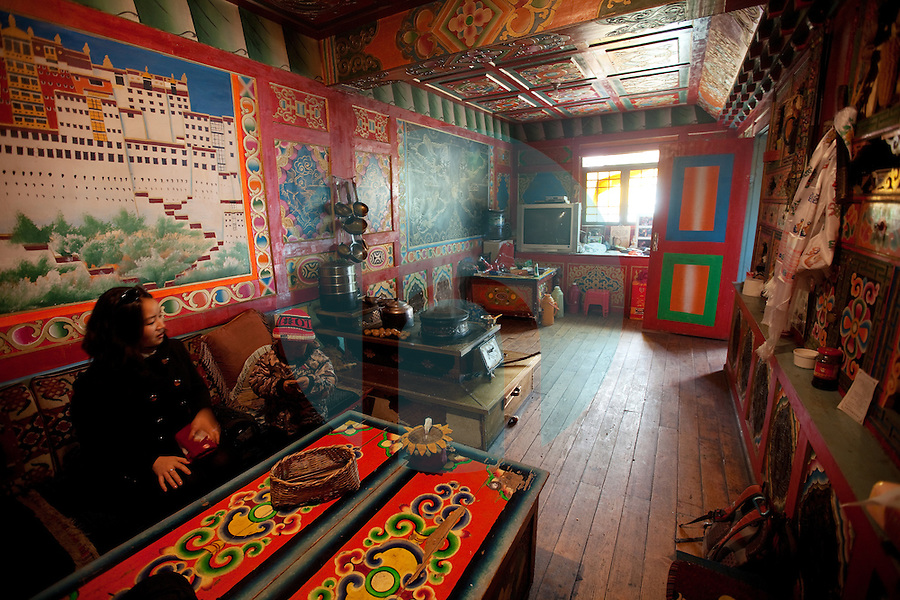 January 10th 2012_Jiuzhaigou, China_ Views of Zhuo Ma's Jiuzhaigou Homestay, a genuine Tibetan homestay in a tiny village about 10km up the valley from Jiuzhai Valley National Park, which is home to nine Tibetan villages, over 220 bird species as well as a number of endangered plant and animal species, including the giant panda, Sichuan golden monkey, the Sichuan takin and numerous orchids and rhododendrons. Photographer: Daniel J. Groshong/The Hummingfish Foundation
