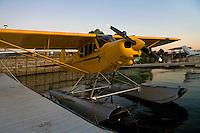 Piper Super Cub on Floats docked at the Sky Lark Motel dock, Seaplane Splash-In, Lakeport, California, Lake County, California