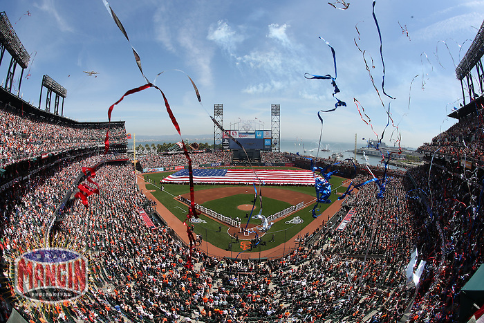 SAN FRANCISCO, CA - APRIL 8:  General interior overall scenic view during the National Anthem on Opening Day before the game between the Arizona Diamondbacks and San Francisco Giants at AT&T Park on Tuesday, April 8, 2014 in San Francisco, California. Photo by Brad Mangin