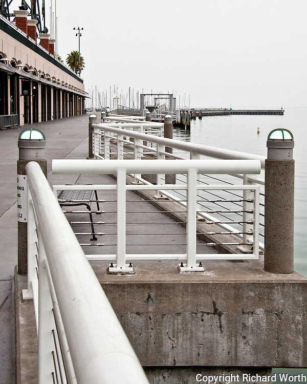 The zigzag railing along hte walkway, the promenade, on the Mission Bay side of AT&T Park.  San Francisco, CA
