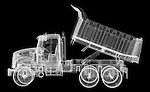 X-ray image of a dump truck (white on black) by Jim Wehtje, specialist in x-ray art and design images.