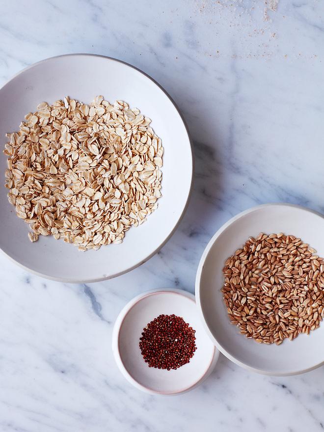 Grains: Rolled Oats, Farro, Red Quinoa