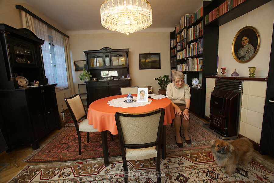 Vienna, Karl-Marx-Hof. Doris Nasty, 82, lives here since 1930 when construction was finished, nowadays with her Pekinese Wasti.