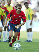 14 August 2004:   USA Mia Hamm prepares to kick a penalty ball before scoring it against Brazil at Kaftanzoglio Stadium in Thessaloniki, Greece.   USA defeated Brazil, 2-0. Credit: Michael Pimentel / ISI