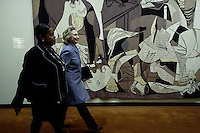 Guernica painting by Pablo Picasso is seen while Former US Secretary of State Hillary Clinton arrives for a press conference about her personal email account at United Nations Headquarters in New York. 10.03.2015. Eduardo Munoz Alvarez/VIEWpress.