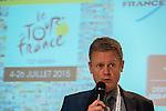 Netherlands, Utrecht, 13-01-2015. Christian Prudhomme (L) directeur van de Tour de France met Laurant Pic ambassadeur van Frankrijk tijdens een presentatie van de de Tour de France  voor journalisten en mensen van de reisbranche op de Vakantiebeurs 2015 in de Jaarbeurs. De Tour de France gaat dit jaar in Utrecht van start ( Le Grand Depart). Laurant Pic ambassador from France during a Tour de France presentation at the 'Holiday Fair' in Utrecht, Netherlands. FOTO: Gerard Til