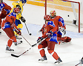Nicklas Lasu (Sweden - 23), Nikita Klyukin (Russia - 21), Maxim Goncharov (Russia - 5), Danila Alistratov (Russia - 20) - Sweden defeated Russia 5-0 on Wednesday, December 31, 2008, at Ottawa Civic Centre Arena in Ottawa, Ontario during the 2009 World Junior Championship.