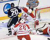 Blake Kessel (UNH - 20), Trent Vogelhuber (Miami - 13) - The University of New Hampshire Wildcats defeated the Miami University RedHawks 3-1 (EN) in their NCAA Northeast Regional Semi-Final on Saturday, March 26, 2011, at Verizon Wireless Arena in Manchester, New Hampshire.