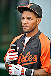 18 May 2012: Baltimore Orioles infielder Robert Andino awaits his turn in the batting cage prior to a game against the Washington Nationals at Nationals Park in Washington, DC. The Orioles defeated the Nationals 2-1 in the first game of their 3-game series. Mandatory Credit: Ed Wolfstein Photo