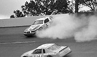 Kyle Petty (7) Ford spins crashes 28th place finish Chet Fillip (81) 36th place finish Motorcraft 500 at Atlanta International Raceway in Hampton, GA on March 16, 1986.   (Photo by Brian Cleary/www.bcpix.com)