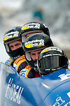 20 November 2005: Matthias Hoepfner, pilot of the Germany 2 sled, crosses the finish line for a 10th place finish at the 2005 FIBT AIT World Cup Men's 4-Man Bobsleigh Tour at the Verizon Sports Complex, in Lake Placid, NY. Mandatory Photo Credit: Ed Wolfstein.