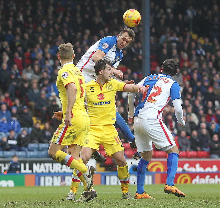 Blackburn Rovers Chris Brown gets a header on goal<br /> <br /> Photographer Mick Walker/CameraSport<br /> <br /> Football - The Football League Sky Bet Championship - Blackburn Rovers v Milton Keynes Dons - Saturday 27th February 2016 - Ewood Park - Blackburn<br /> <br /> &copy; CameraSport - 43 Linden Ave. Countesthorpe. Leicester. England. LE8 5PG - Tel: +44 (0) 116 277 4147 - admin@camerasport.com - www.camerasport.com
