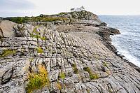 Norway, Lofoten. Henningsvær is a fishing village on the southern tip of Austvågøya. The lighthouse.