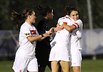 03 November 2010: Maryland's Molly Dreska (right) celebrates her goal with teammates. The Maryland Terrapins defeated the Duke Blue Devils 1-0 in an ACC Women's Soccer Tournament quarterfinal game at Koka Booth Stadium at WakeMed Soccer Park in Cary, NC.