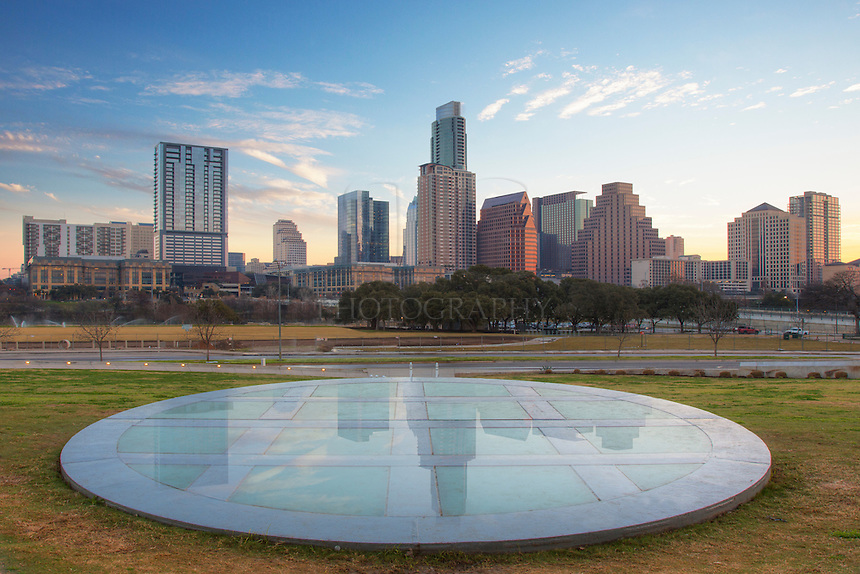 From just beyond the pavillion of the Long Center, this is the view of downtown Austin that visitors will enjoy. With a little moisture on the ground on this February morning, a faint reflection of the skyline was visible in the foreground stone.