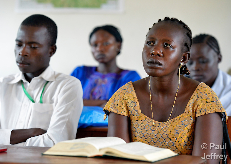 Students in class in a teacher training institute in Yambio, South Sudan. The newly independent country faces a critical shortage of trained teachers, and several religious groups are pitching in to help. This institute is sponsored by Solidarity with Solidarity with South Sudan, an international network of Catholic groups providing training for teachers, health care workers, and pastoral agents in South Sudan.