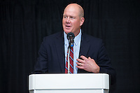 """Former Major League Baseball pitcher Jim Abbott was the quest speaker at the Wake Forest Baseball """"First Pitch"""" Dinner on February 9, 2017 in Winston-Salem, North Carolina.  (Brian Westerholt/Four Seam Images)"""