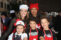 Los Angeles, CA - NOVEMBER 23: Ali Landry, Garcelle Beauvais, Estela Ines Monteverde, Jaid Thomas Nilon, Jax Joseph Nilon, At Los Angeles Mission Thanksgiving Meal For The Homeless At Los Angeles Mission, California on November 23, 2016. Credit: Faye Sadou/MediaPunch