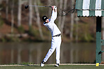 KANNAPOLIS, NC - APRIL 09: Charlotte's Tyler Young tees off on the ninth hole. The third round of the Irish Creek Intercollegiate Men's Golf Tournament was held on April 9, 2017, at the The Club at Irish Creek in Kannapolis, NC.