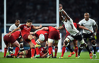 Ben Youngs of England box-kicks the ball clear. Rugby World Cup Pool A match between England and Fiji on September 18, 2015 at Twickenham Stadium in London, England. Photo by: Patrick Khachfe / Onside Images